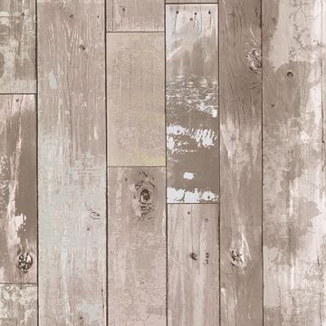 Picture of Heim Taupe Distressed Wood Panel Wallpaper