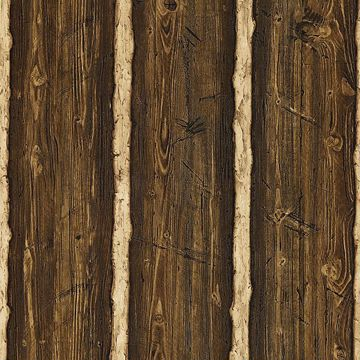 Picture of Franklin Dark Brown Rustic Pine Wood Wallpaper