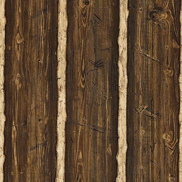 Picture of Franklin Dark Brown Rustic Pine Wood Wallpaper