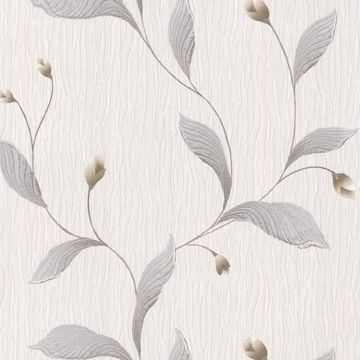 Picture of Nephi Silver Leaf Texture Wallpaper