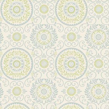 Picture of Annabel Blue Medallion Wallpaper