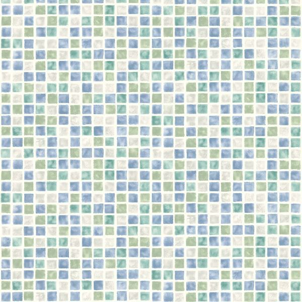 Picture of Harbor Blue Sea Glass Tiles Wallpaper