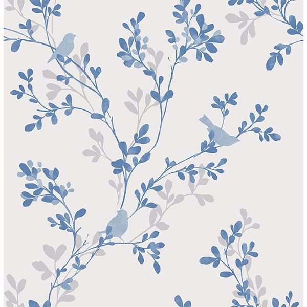 Picture of Chirp Blue Birds & Trees Wallpaper