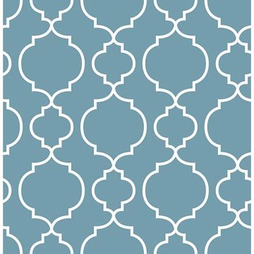 Picture of Desiree Blueberry Quatrefoil Wallpaper