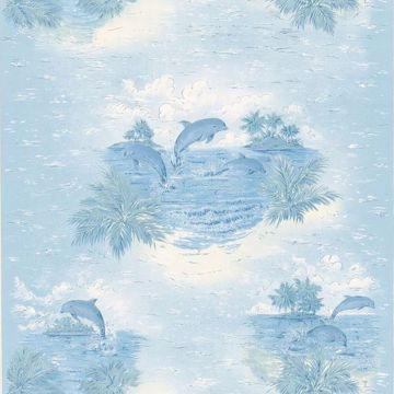 Picture of Alcott Blue Tropical Dolphin Wallpaper
