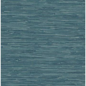 Picture of Natalie Teal Faux Grasscloth Wallpaper