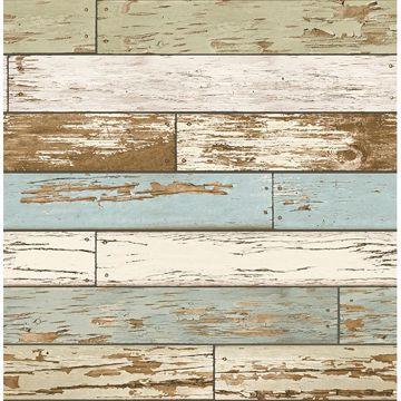 Picture of Levi Blue Scrap Wood Wallpaper