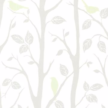 Picture of Corwin Light Green Bird Branches Wallpaper
