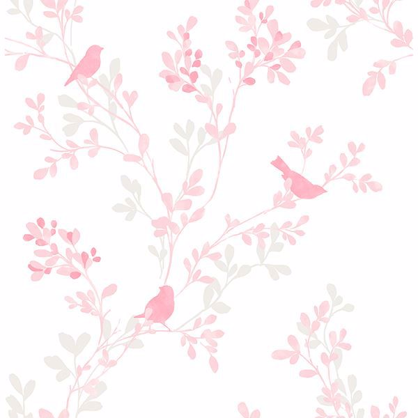 Picture of Chirp Pink Birds & Trees Wallpaper