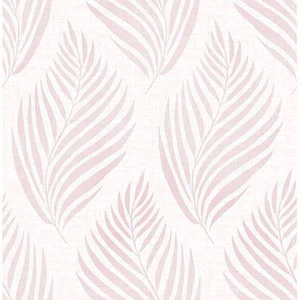 Picture of Patrice Pink Linen Leaf Wallpaper
