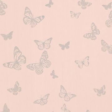 Picture of Pearl Blush Butterfly Wallpaper