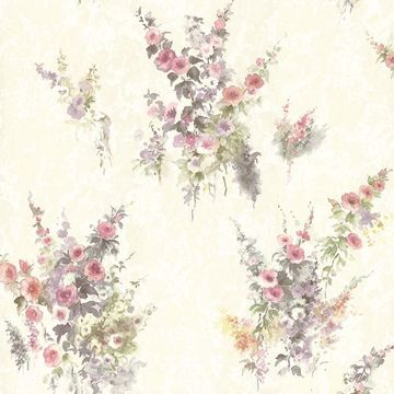 Picture of Quinn Purple Bouquet Floral Wallpaper