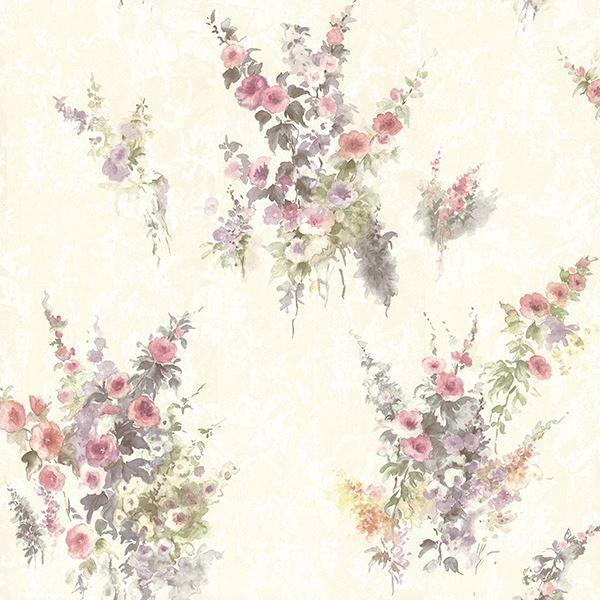 Picture of Quinn Purple Bouquet Floral Wallpaper