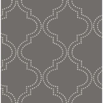 Picture of Tetra Charcoal Quatrefoil Wallpaper