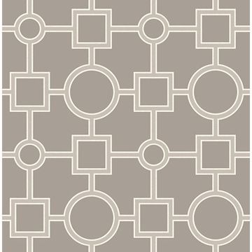 Picture of Matrix Taupe Geometric Wallpaper