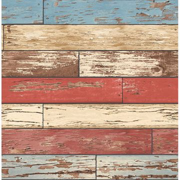 Picture of Levi Red Scrap Wood Wallpaper