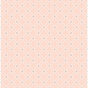 Picture of Kinetic Salmon Geometric Floral Wallpaper