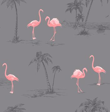 Picture of Sanibel Dark Grey Flamingo Wallpaper