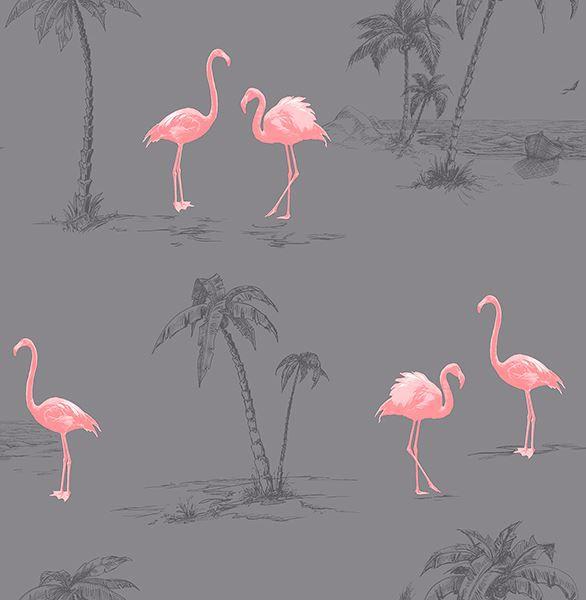 Picture of Sanibel Dark Grey Flamingo Wallpaper