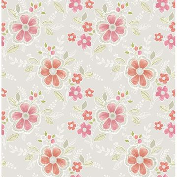 Picture of Chloe Peach Floral Wallpaper