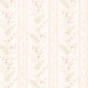 Picture of Bell Peach Wildflower Stripe Wallpaper