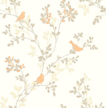 Picture of Chirp Orange Birds & Trees Wallpaper