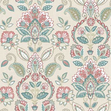 Picture of Rayleigh Coral Floral Damask Wallpaper