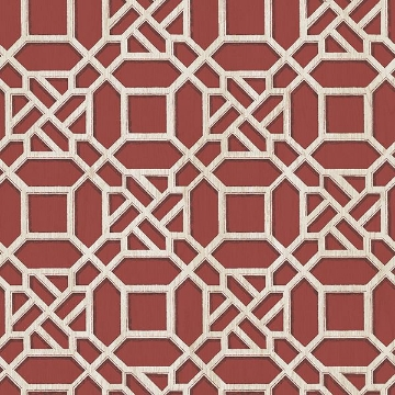 Picture of Adlington Maroon Geometric Wallpaper