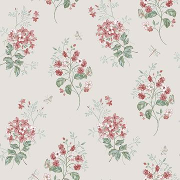 Picture of Beverly Red Floral Wallpaper
