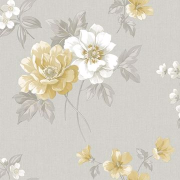 Picture of Keighley Grey Floral Wallpaper
