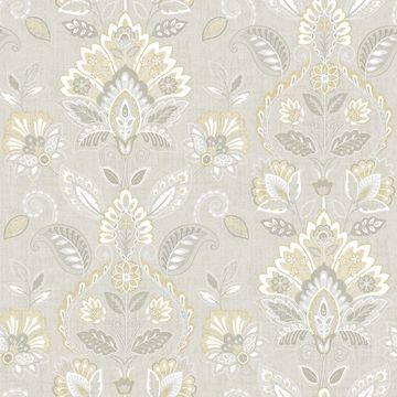 Picture of Rayleigh Grey Floral Damask Wallpaper