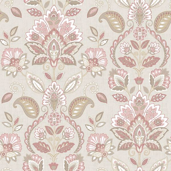 Picture of Rayleigh Pink Floral Damask Wallpaper