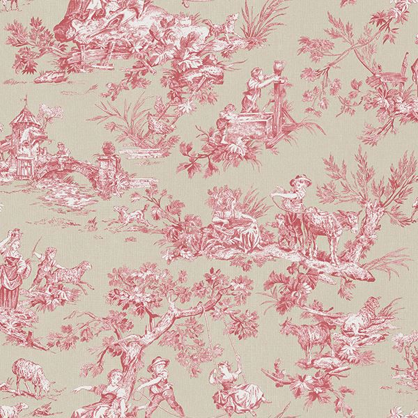 Picture of Whitney Red Toile Wallpaper