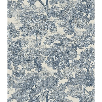 Picture of Blyth Blue Toile Wallpaper