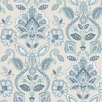 Picture of Rayleigh Blue Floral Damask Wallpaper