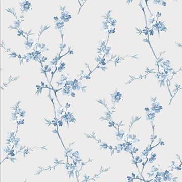 Picture of Cherry Blossom Light Blue Trail Wallpaper
