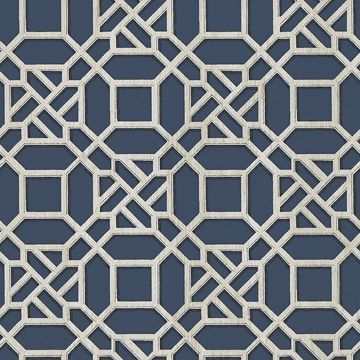 Picture of Adlington Blue Geometric Wallpaper