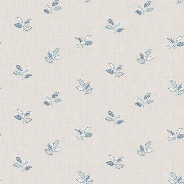 Picture of Leigh Blue Leaf Wallpaper