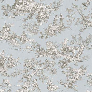 Picture of Whitney Light Blue Toile Wallpaper