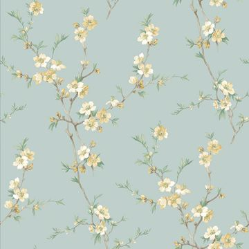 Picture of Cherry Blossom Light Green Trail Wallpaper