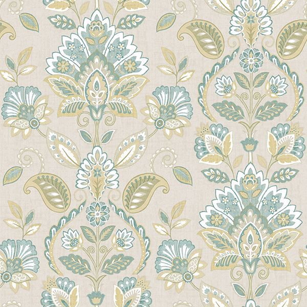 Picture of Rayleigh Teal Floral Damask Wallpaper