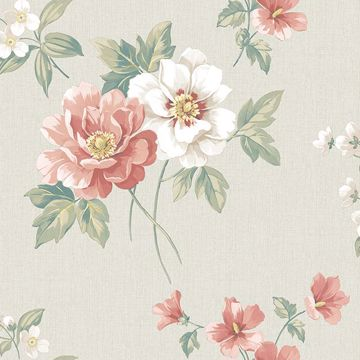 Picture of Keighley Coral Floral Wallpaper