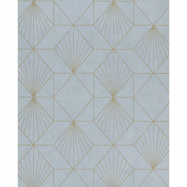 Picture of Halcyon Blue Geometric Wallpaper