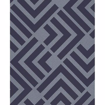 Picture of Zig Navy Geometric Wallpaper