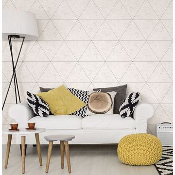 Picture of Polished Concrete Silver Geometric Wallpaper