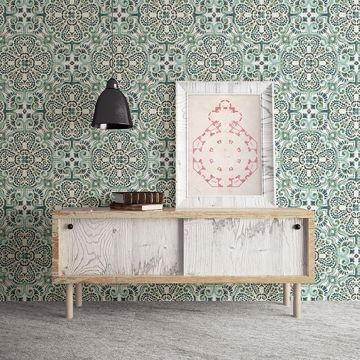 Picture of Florentine Green Tile Wallpaper