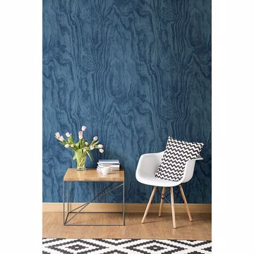 Picture of Bentham Blue Plywood Wallpaper