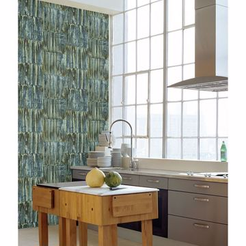 Picture of Patina Panels Blue Metal Wallpaper
