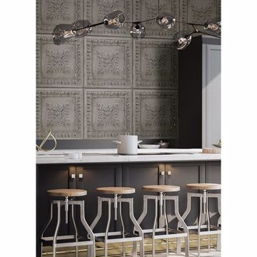 Picture of Ornamental Grey Tin Tile Wallpaper