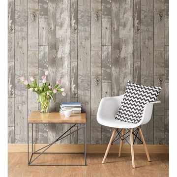 Picture of Deena Grey Distressed Wood Wallpaper